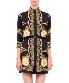 Versace Belted Shirt-dress In Nero Versace Fashion, Versace Dress, Versace Clothing, Short Shirt Dress, Belted Shirt Dress, Dress Long, Versace Shirts, Versace Logo, Chic Outfits