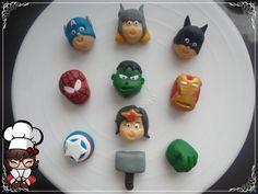 Doces modelados, Shaped candy, Sweet, Leite em pó, Leite Ninho. Pagina: Monike Doces Artesanais Tema: Herois Capitão America, Homem de ferro, Thor, Batmam, Hulk, Homem Aranha e Mulher Maravilha