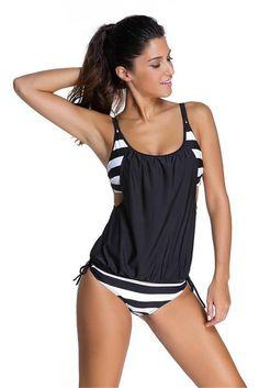 Bikini Mayo 2016 Striped Tankinis Set Top Women Tank Push Up Sport 2 Piece Bathing Suits Plus Size Thong Swimwear Sexy Swimsuits