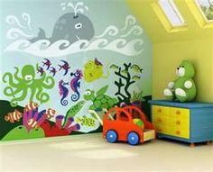 Image detail for -Cute Kids Room Wall Murals Theme Picture - Best Wall Murals Gallery . Kids Room Murals, Murals For Kids, Kids Room Paint, Nursery Murals, Sea Murals, Underwater Room, Playroom Design, Daycare Design, Playroom Ideas