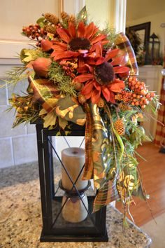 Red Sunflower Lantern Swag by kristenscreations on Etsy