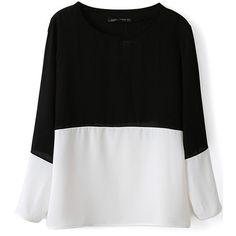 Contrast chiffon blouse, $25