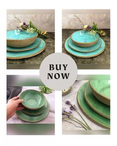 """Handmade Dinnerware Set, Green Rustic Dinner Set of 3 Stoneware Dishes, Dinner Plate, Salad, Lunch or Dessert Plate and Soup Bowl - Gray Shop today 👍 www.VIBceramics.com Green handmade dinnerware set of the """"Deep Water"""" collection, inspired by the sea and rocks. Rustic dinner set of 3 modern stoneware dishes (dinner Plate, salad or dessert plate, and soup bowl) for people who love rustic, beautiful, and unique things and choose to integrate them into everyday life, to make every day… Plates And Bowls, Rustic Ceramics, Water Collection, Unique Wedding Gifts, Deep Water, Dinner Sets, Dinnerware Sets, Cereal Bowls"""
