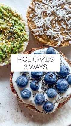 Rice Cakes Healthy, Healthy Sweets, Healthy Breakfast Recipes, Breakfast Ideas, Healthy Snack Recipes, Rice Cake Snacks, Healthy Summer Snacks, Healthy Foods, Healthy Blueberry Muffins