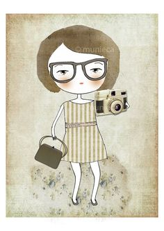 """Wow, I love this too much, great color, illustration and photo combined. This is titled """"Nerd with her camera."""" by Munieca of Argentina on Etsy."""