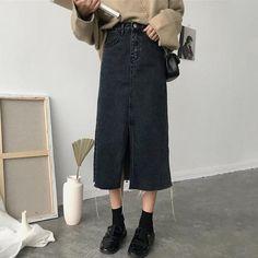 High Waist Women Skirt Fashion Slim Denim Skirts Womens Spring New Solid Split Korean Jeans Faldas Mujer Bottoms Elegant Saias Denim Fashion, Skirt Fashion, Womens Fashion, Korean Jeans, Style Ulzzang, Harajuku, Urban Outfitters, Types Of Skirts, Cheap Skirts