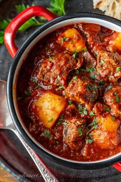 A bowl of rich Hungarian Style Beef Goulash with potatoes