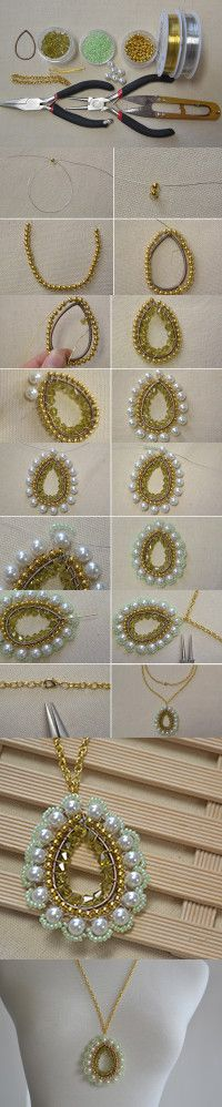 Tutorial on How to Make a Beaded Drop Necklace with Pendant from LC.Pandahall.com #pandahall