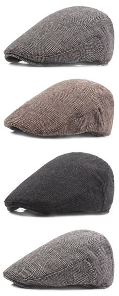 Men's Cotton Vintage Lattice Beret Hat Casual Sunshade Forward Cap Golf Cabbie Hat