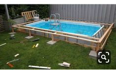 Rectangle Above Ground Pool, Rectangle Pool, Above Ground Pool Decks, In Ground Pools, Above Ground Swimming Pools, Pool Pool, Intex Pool, Diy Pool, Swimming Pools Backyard