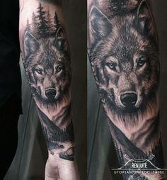 By Regina Renjute, guest artist at Utopian Tattoo Tribe If you like tattoos . - By Regina Renjute, guest artist at Utopian Tattoo Tribe If you like the highest quality tattoos, we - Wolf Tattoos Men, Badass Tattoos, Celtic Tattoos, Animal Tattoos, Tattoos For Guys, Lion Tattoo Sleeves, Wolf Tattoo Sleeve, Tribal Sleeve Tattoos, Angel Tattoo Designs