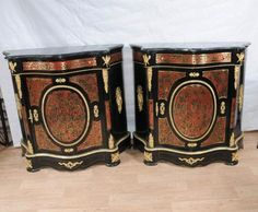 Pair Boulle Serpentine Cabinets/Credenzas Bhul Inlay Louis XV Furniture, Stunning Examples of the Style.