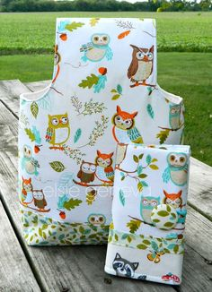 Owl Crochet Hook Case and Arm Bag with Sewn in Zipper /