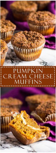 Pumpkin Cream Cheese Muffins | marshasbakingaddiction.com @marshasbakeblog