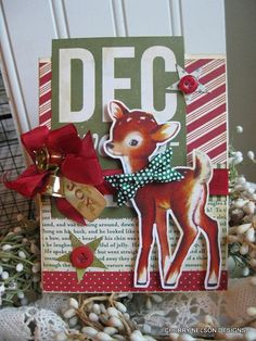 retro christmas card- REINDEER with BOW TIE - handmade christmas card