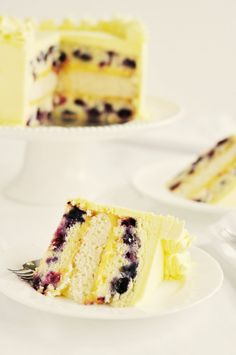 Triple-Lemon Blueberry Cake by Sweetapolita