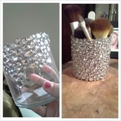 Glass cup + jewels + hot glue fun = makeup brush holder! Makeup Room Diy, Diy Makeup Storage, Diy Makeup Jars, Diy Makeup Decor, Diy Vanity Storage, Dyi Makeup Vanity, Makeup Vanities, Fun Makeup, Diy Vanity Mirror