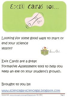 Science Gal: Exit Cards - Freebie!