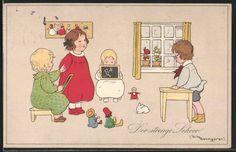 Künstler-AK Fritz Baumgarten: der strenge Lehrer, Kinder spielen Schule, Puppen in Sammeln & Seltenes, Ansichtskarten, Motive | eBay