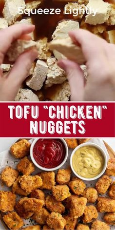 """Looking for a homemade meat-free """"chicken"""" nugget that every is going to LOVE!? I've gotchu! These Vegan """"Chicken"""" Nuggets are flavorful, delicious, and simple to make. They also freeze well so they're great to just pop in the oven for an easy and tasty meal. Best Tofu Recipes, Clean Recipes, Easy Healthy Recipes, Raw Food Recipes, Mexican Food Recipes, Appetizer Recipes, Cooking Recipes, Vegan Chicken Nuggets, Twisted Recipes"""