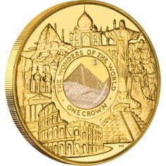 Awesome! - Gold Coin with Sand from the Great Pyramid of Giza THE WONDERS OF THE MODERN WORLD 2008  Isle of Man 1 oz