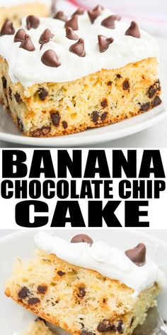 BANANA CHOCOLATE CHIP CAKE RECIPE- Quick, easy, packed with ripe bananas and chocolate chips and the best! This banana sheet cake with cream cheese icing is soft, moist and can serve a crowd at parties or picnics. Frosting Recipes, Cupcake Recipes, Cupcake Cakes, Cupcakes, Dessert Recipes, Chocolate Chip Cake, Chocolate Recipes, Delicious Cake Recipes, Yummy Cakes