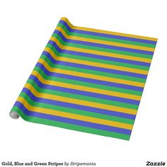 Gold, Blue and Green Stripes Wrapping Paper