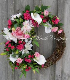 Spring Wreath, Easter Wreath, Spring Floral, Victorian Garden, Calla Lilies, Elegant, Wedding, Designer Wreath