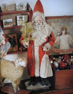 Nice Santa & sheep.  Love the Fairbank's Fairy Soap store display box filled with ornaments.