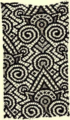 A large exciting black jazzy geometric vintage lace fabric document swatch. Machine made in the first quarter of the twentieth century.