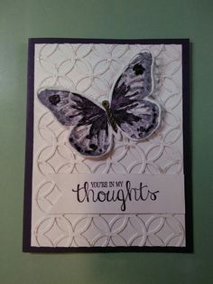 Watercolor wings stampin up, striped scalloped thinlts die, bold butterfly framelit die, and best thoughts stampin up. Stampin up classic ink pads wisteria wonder and elegant eggplant , dazzling diamond glitter rhinestone jewels. White and elegant eggplant cardstock.