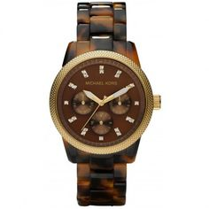 This Michael Kors Jet Set Tortoise Shell watch features a brown mother of pearl dial with luminous hands and Swarovski crystal index hour markers with fixed gold-tone bezel.Gender: WomensCondition: Ne