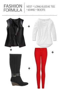 If it's a bit too warm for a leather jacket, a black leather vest is the perfect substitute that will give off an equally edgy vibe. Add it over a long-sleeved tee for just the right layer of warmth.    - Redbook.com