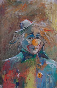 Original oil Painting - ( CLOWN ) Funnyman with Sad Eyes. Le Clown, Clown Faces, Clown Paintings, Oil Paintings, Famous Clowns, Laugh Now Cry Later, Pierrot Clown, Circus Art, Send In The Clowns