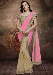 Wedding Wear Pink Lycra Embroidered Work Saree