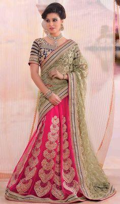 USD 69.23 Beige Net Wedding Lehenga Saree 47230