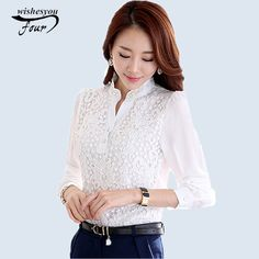 Check lastest price New Arrival  2015 plus size White Long Sleeve Chiffon Shirt Feminine Korean Beading Crochet Lace Blouse Women's Clothing 602F15 just only $11.65 - 12.49 with free shipping worldwide  #womanblousesshirts Plese click on picture to see our special price for you