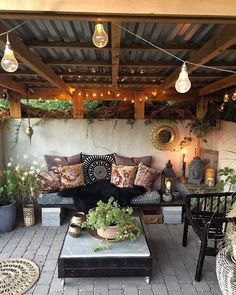 Outdoor Rooms, Outdoor Furniture Sets, Outdoor Decor, Outdoor Lighting, Backyard Lighting, Outdoor Projects, Pallet Furniture, Rustic Furniture, Painted Furniture