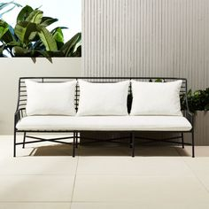 "Seating - Designed by Mermelada Estudio, streamlined sofa evokes ""the essence of French coastal living in the Modern metal frame wears black matte powder coat, . Patio Furniture For Sale, Ikea Furniture, Living Furniture, Outdoor Furniture, Metal Furniture, Antique Furniture, Rustic Furniture, Modern Furniture, Furniture Outlet"