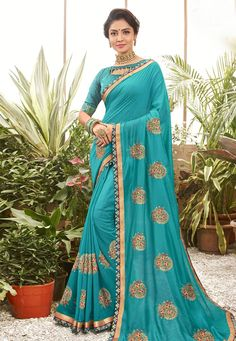 Buy Turquoise Chanderi Silk Saree With Blouse 201611 with blouse online at lowest price from vast collection of sarees at Indianclothstore.com. Chanderi Silk Saree, Lehenga Choli, Silk Sarees, Sari, Latest Indian Saree, Indian Sarees Online, Party Wear Sarees Online, Turquoise Fabric, Celebrity Gowns