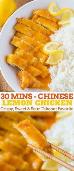 Chinese Lemon Chicken is the classic Chinese takeout recipe cooked with coated chicken breast in a sweet and sour lemon sauce in just 30 minutes. | #chinesefood #lemonchicken #chinesetakeout #chinesecopycat #easychineserecipes #dinnerthendessert #chickenrecipes #chicken