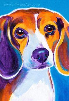 Colorful Pet Portrait Beagle Dog Art Print DawgArt by dawgpainter