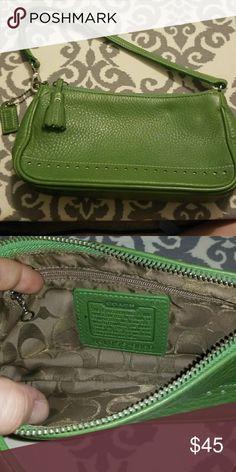Authentic Coach Purse Soft, green leather Coach purse in excellent condition. Has a spot on inside tag. Coach Bags Mini Bags