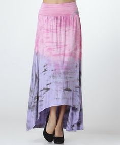 This Pink & Lavender Tie-Dye Ruched Convertible Hi-Low Dress by CottyOn is perfect! #zulilyfinds
