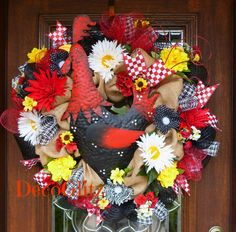 Mesh and Burlap ROOSTER WREATH with SUMMER Flowers by decoglitz