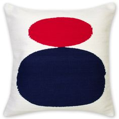 Jonathan Adler Cotton Mother Child Pillow Red And Blue in In Stock Pillows And Throws