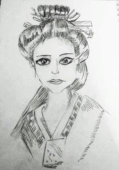 Drawing  geisha girl