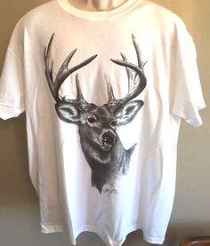 Buck Deer T Shirt Black & White Drawing Adult XL White ( Custom Orders…