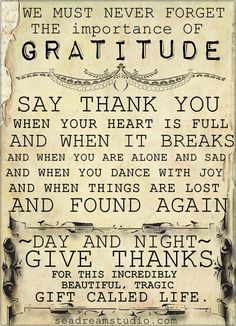 Never Forget the Importance of Gratitude -- in Romans chapter 1, one of the chief differences between the godly and the ungodly is their expression or not of gratitude.