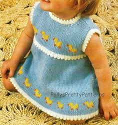 """Instant Download - PDF Knitting Pattern for Babies & Toddlers Duckling/Duck Motif Dress - 19-21"""" Chests"""